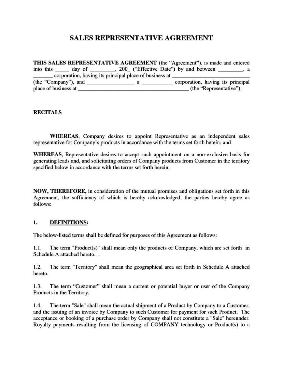 Sales representative contract template sampletemplatess for Sales rep contract template