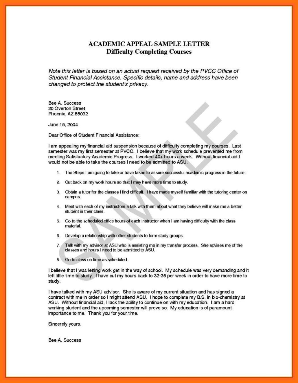 Sample Appeal Letter For College Dismissal  Writing An Appeal Letter