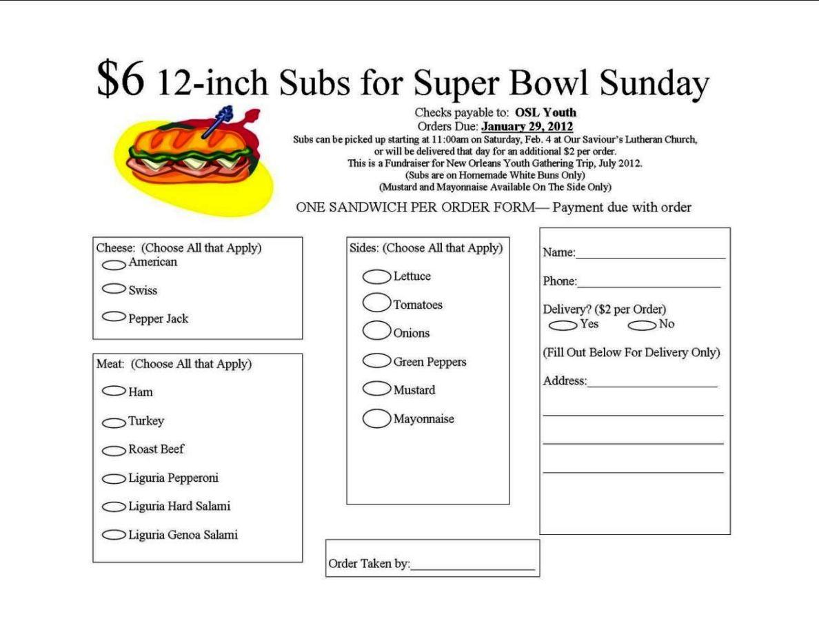 Sandwich Order Form Template - SampleTemplatess - SampleTemplatess