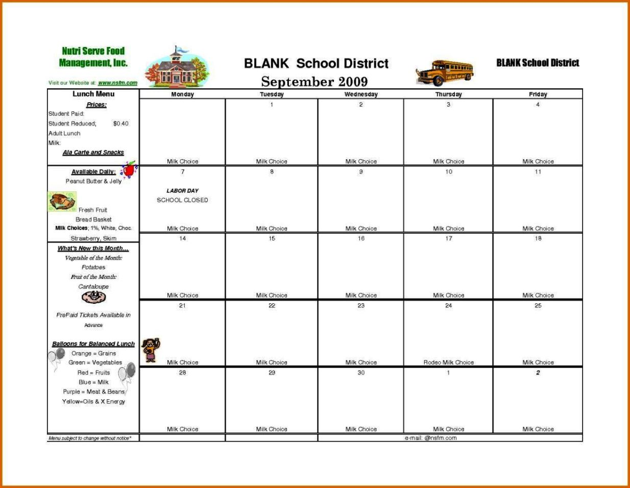 School lunch calendar template sampletemplatess for Lunch schedule template excel