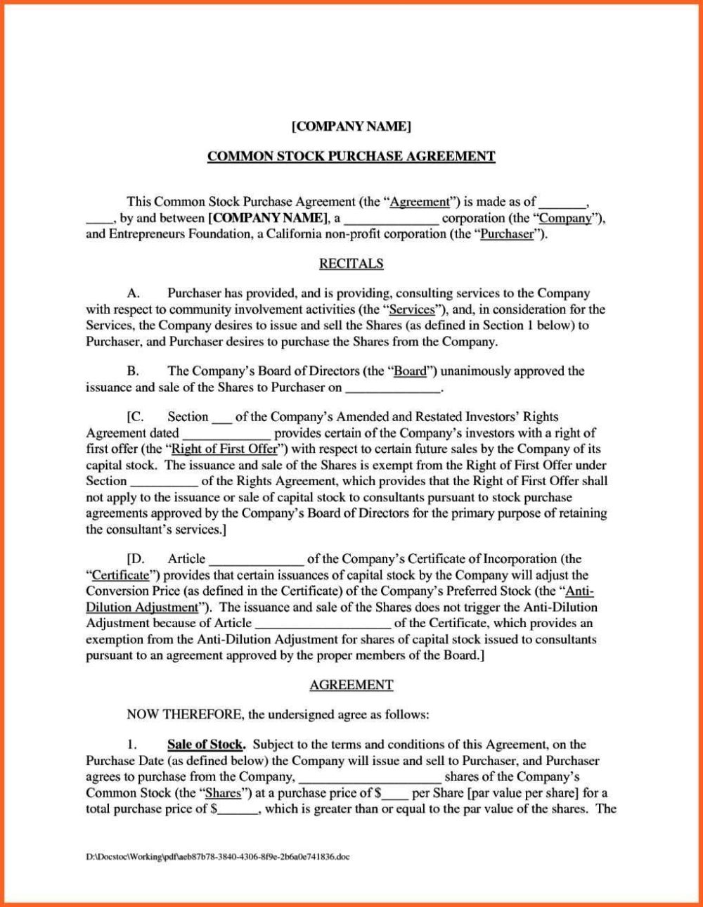 Modern Share Sale Agreement Template Photo - Professional Resume ...