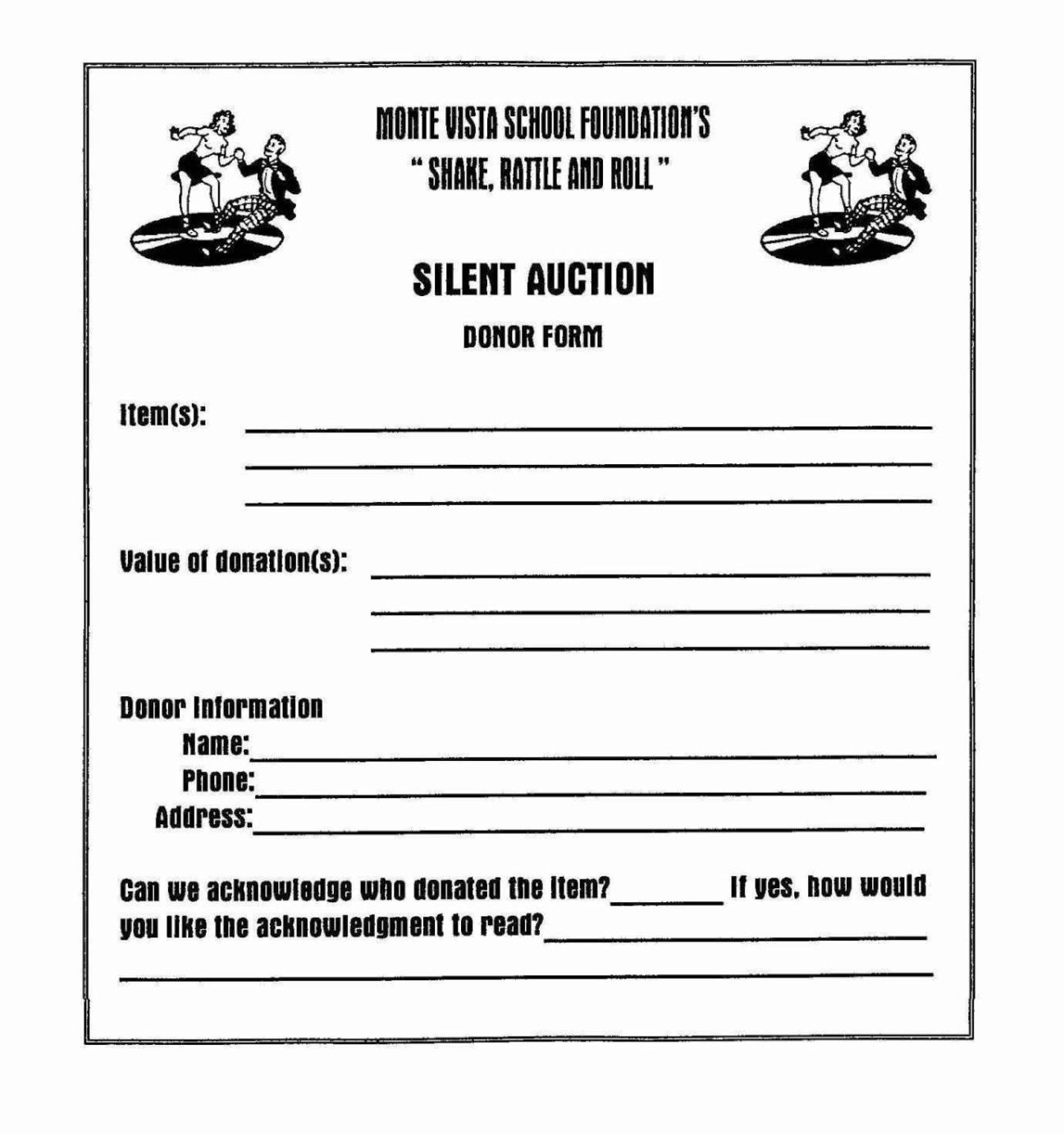 silent auction program template - silent auction donation form template sampletemplatess