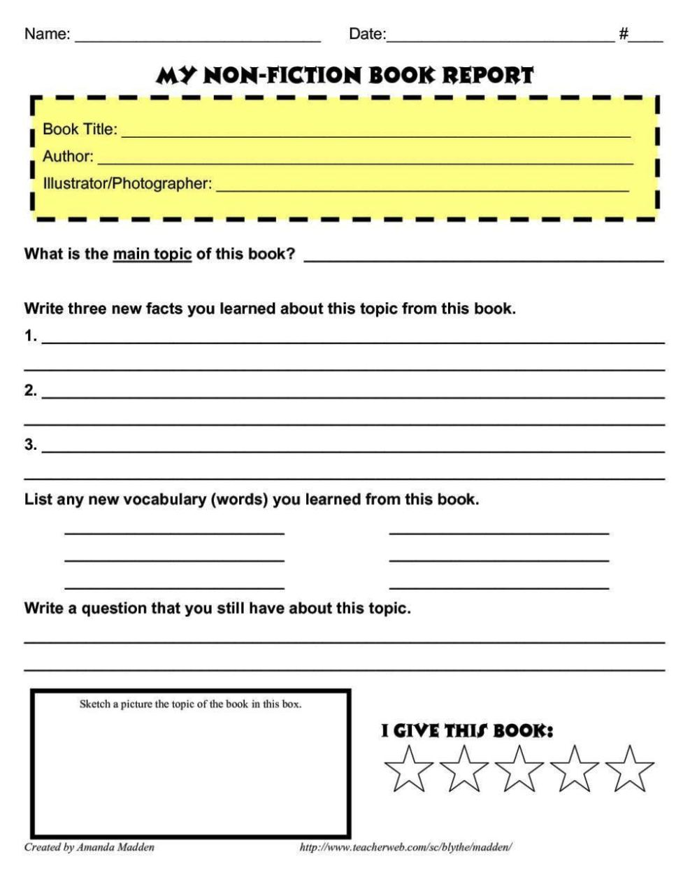 simple book report templates