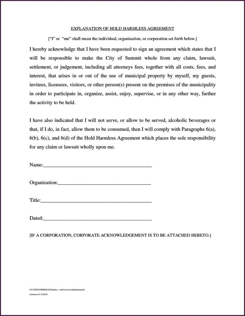 sample hold harmless agreement pdf