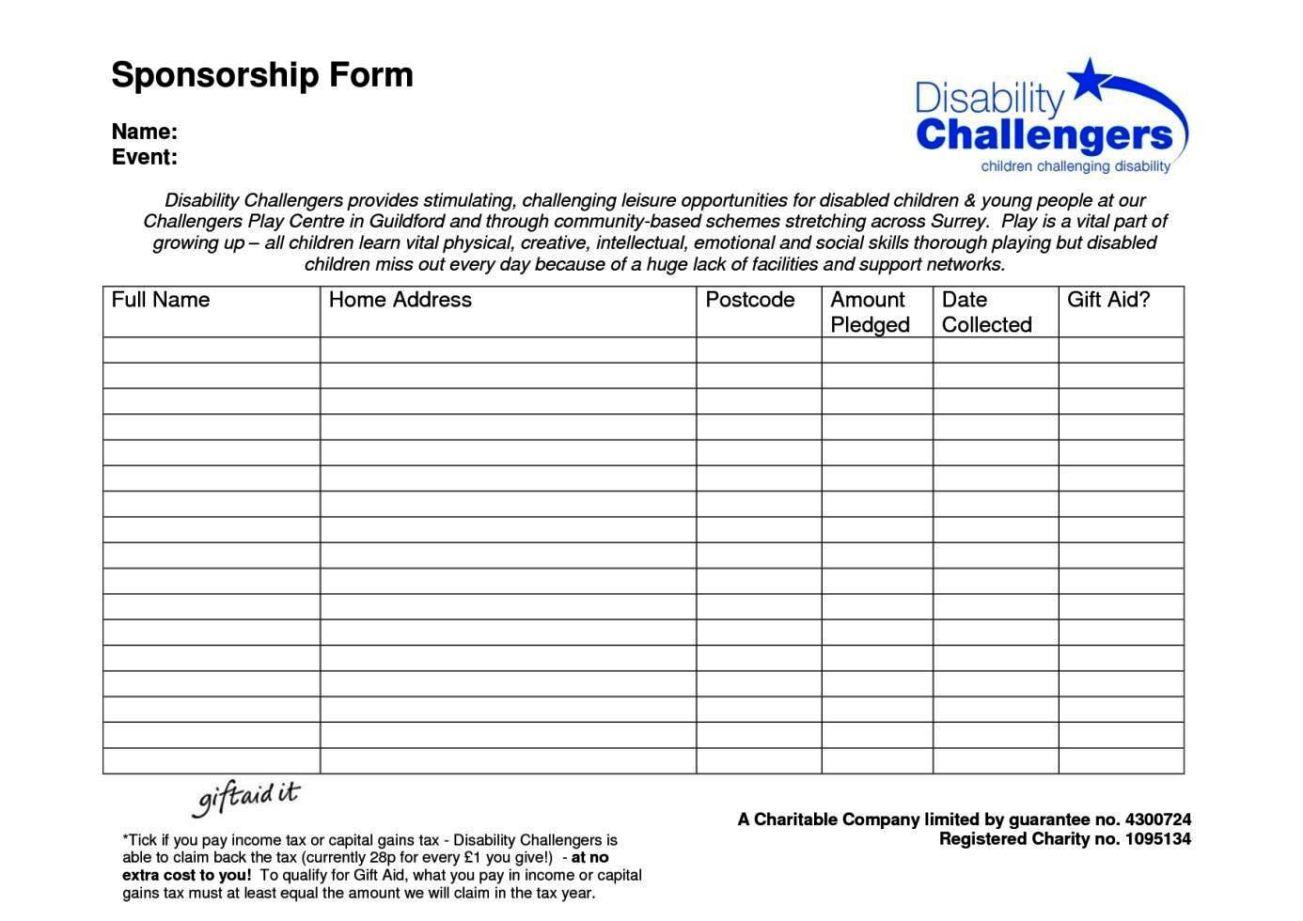 sponsor form template word