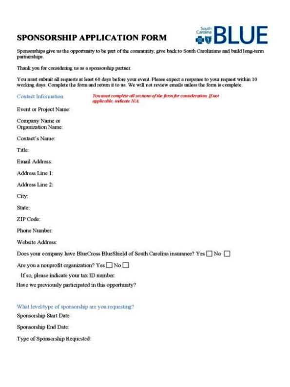 sponsorship request form template
