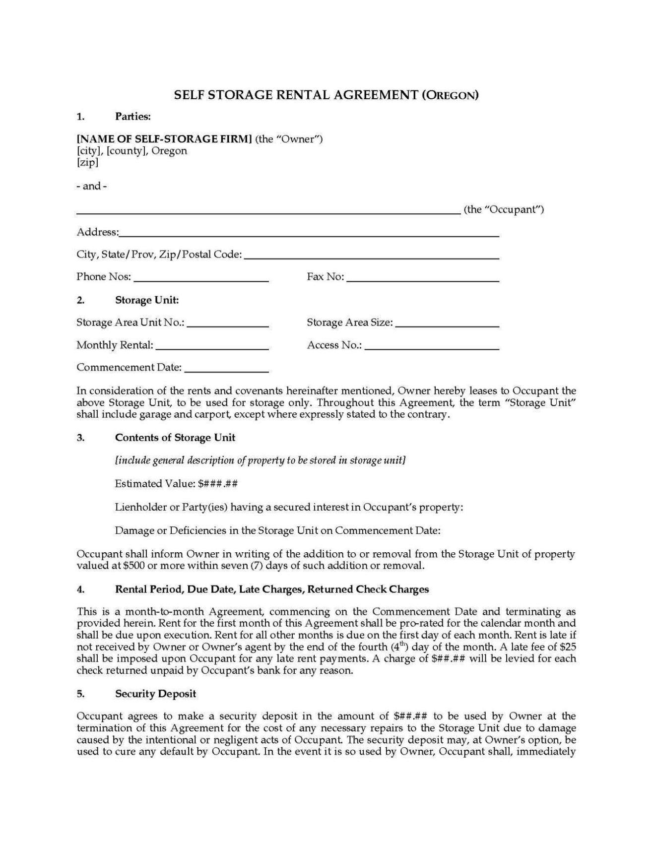 storage lease agreement template sampletemplatess sampletemplatess. Black Bedroom Furniture Sets. Home Design Ideas
