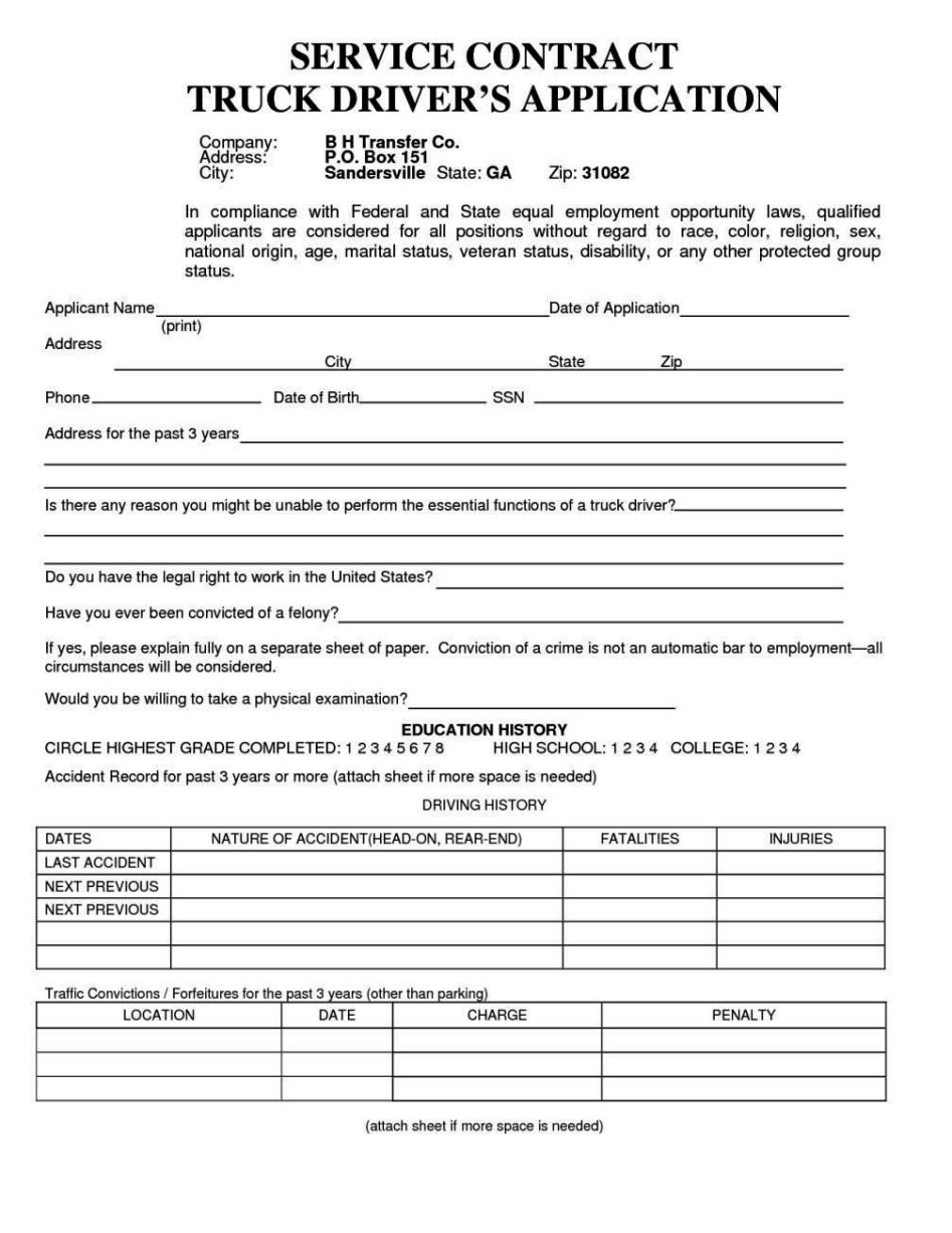 Truck Driver Employment Application Form Template - SampleTemplatess ...