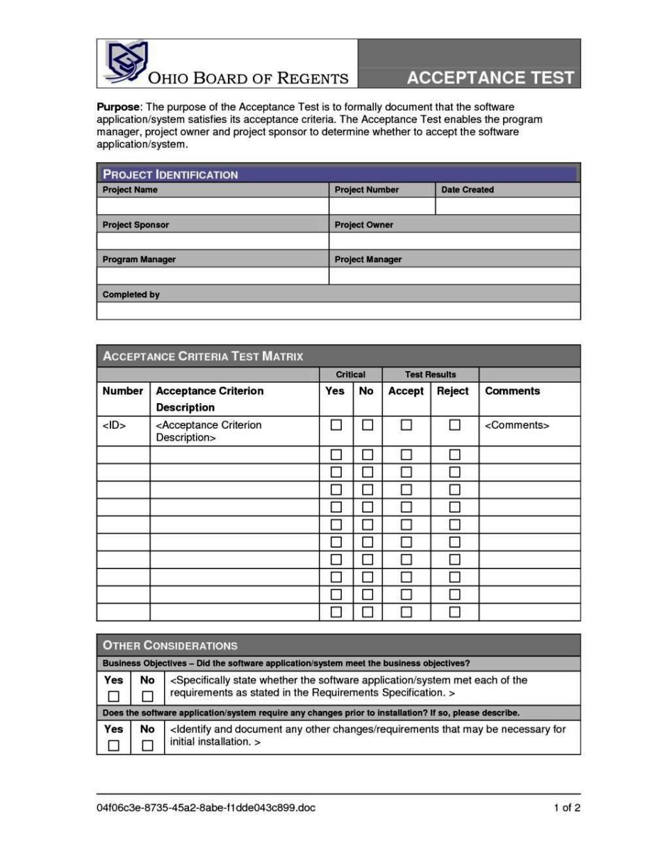 User acceptance form template sampletemplatess for Sign off template for testing