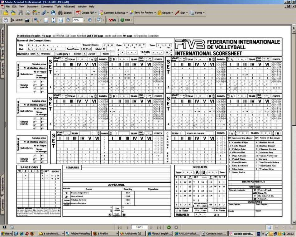 Volleyball Score Sheet Template  Sampletemplatess