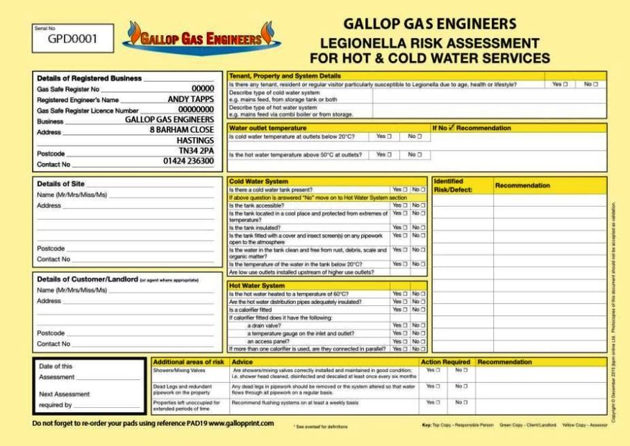 water risk assessment template