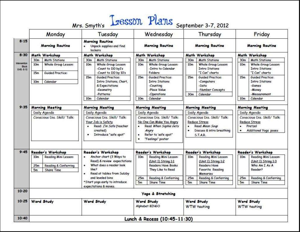 Weekly Lesson Plan Template High School Sampletemplatess
