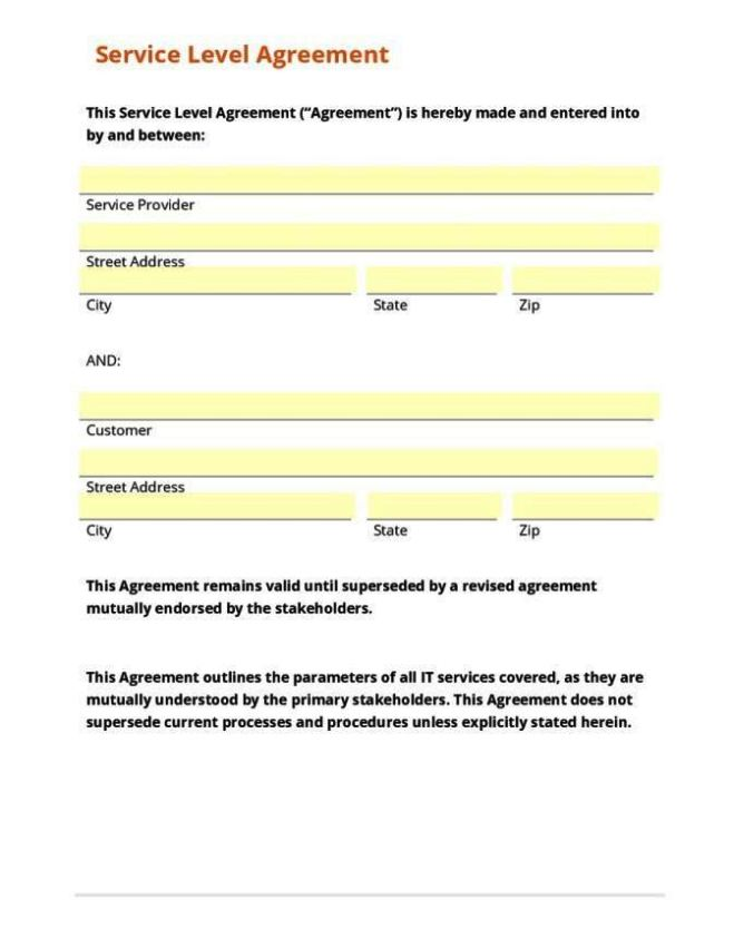 What Is A Service Level Agreement Mandegarfo