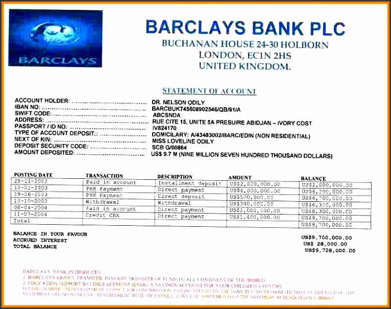 8 fake bank account statement creator statement information within fake barclays bank statement template