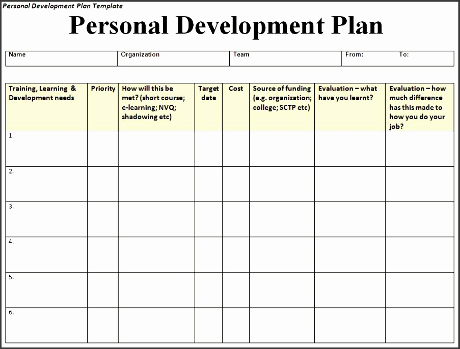 Personal Development Plan Template  Personal Development Plan Template Word