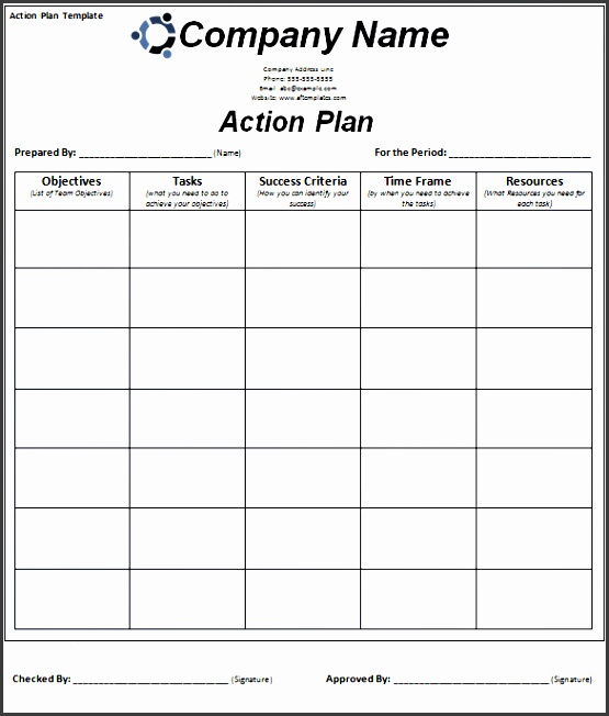 free smart action plan template word