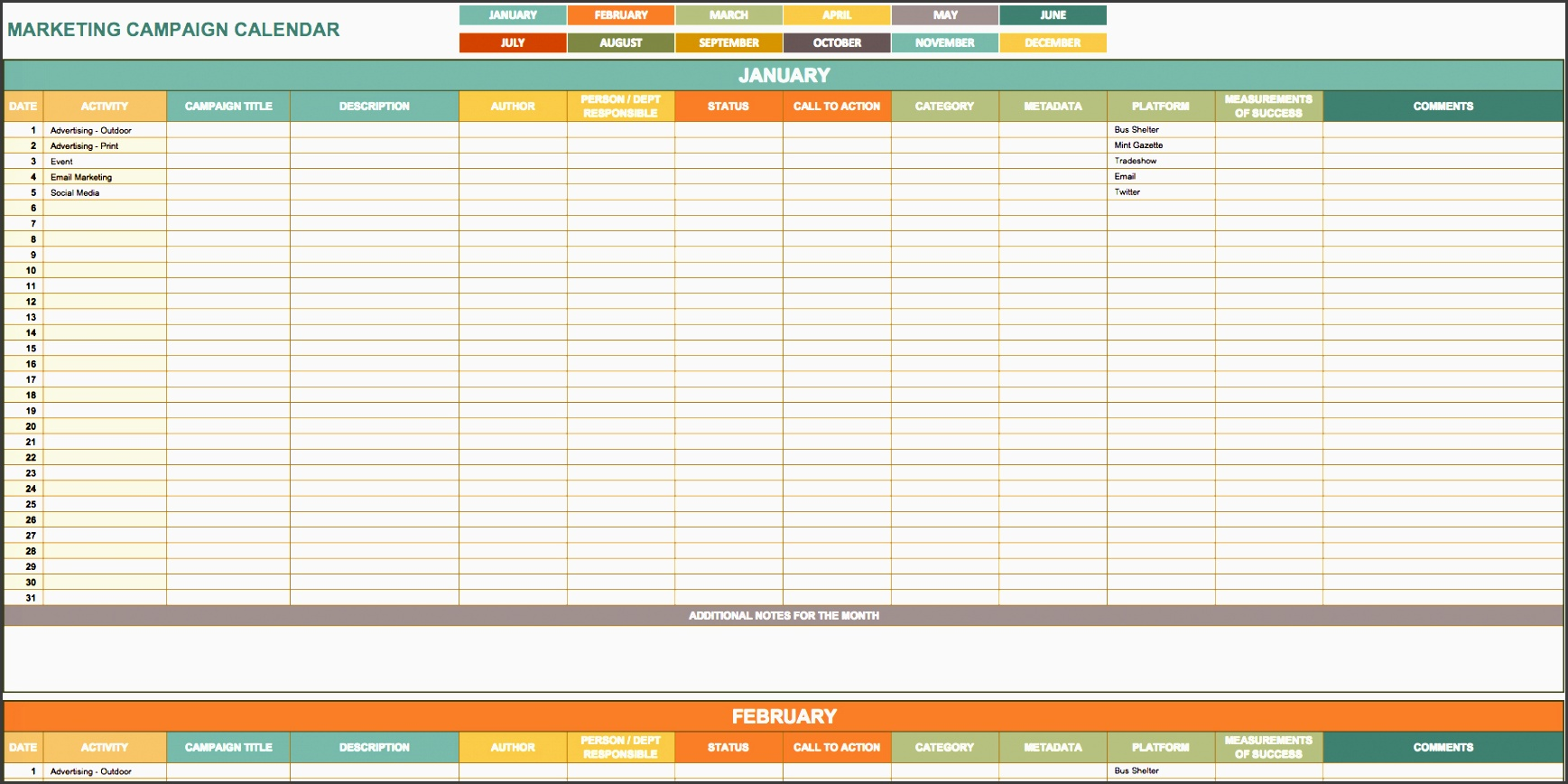 marketing campaign calendar template - 5 advertising plan template in excel sampletemplatess