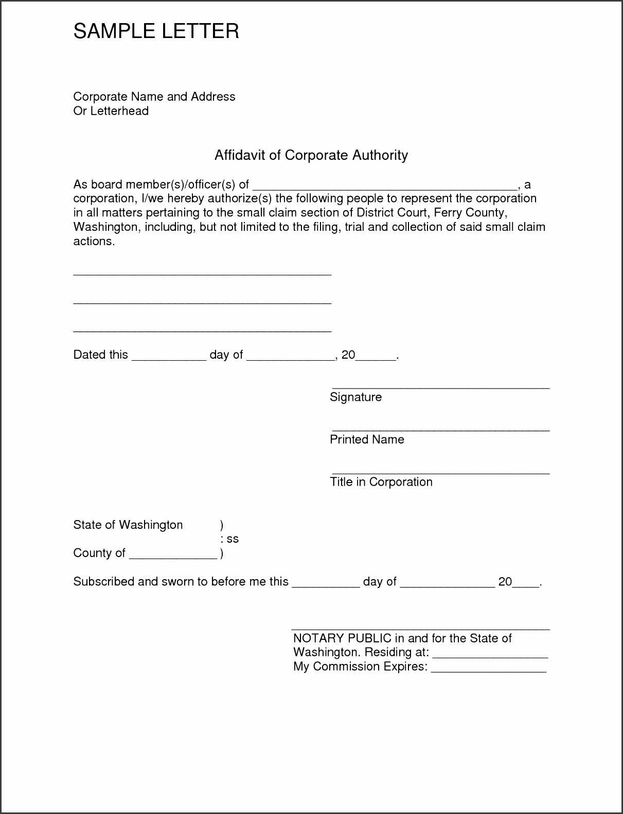 Sample Affidavit Letter  Affidavit Template Word