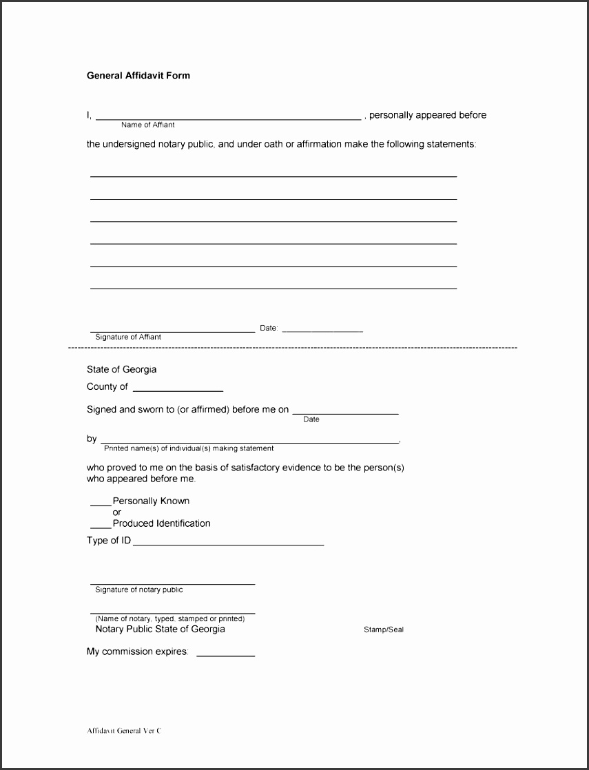 Printable Affidavit Form 12  Printable Affidavit