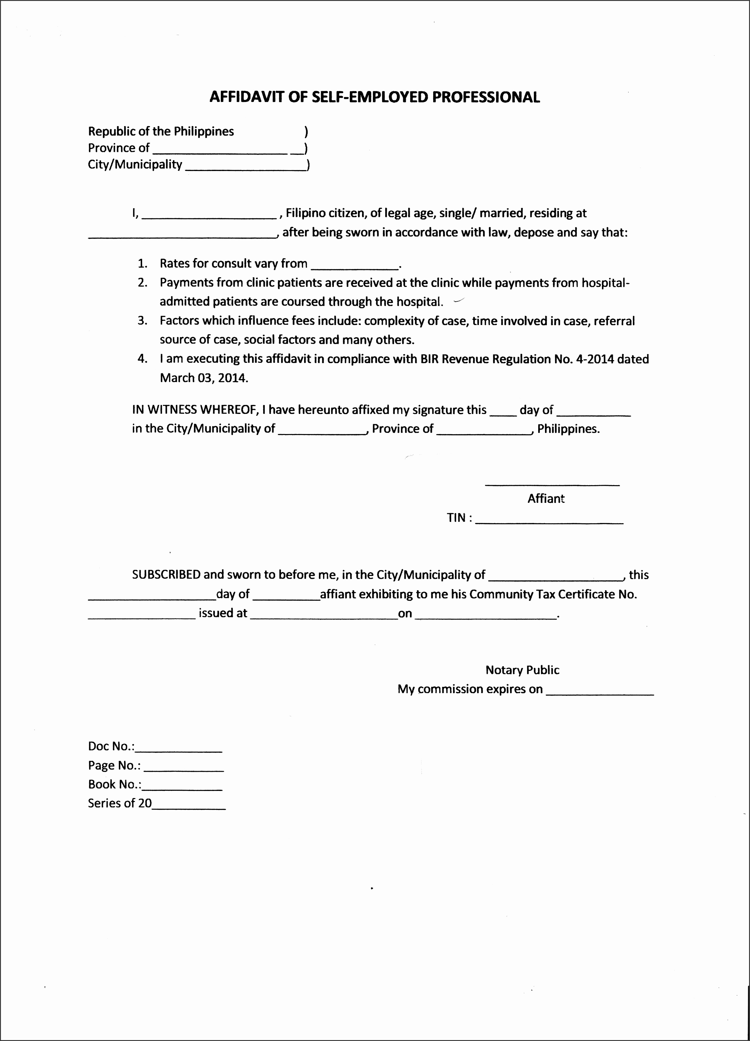 Brilliant Affidavit Of Self Employed Professional Sample With Sworn And  Declaration And Blank Space A Part  Affidavit Form Sample