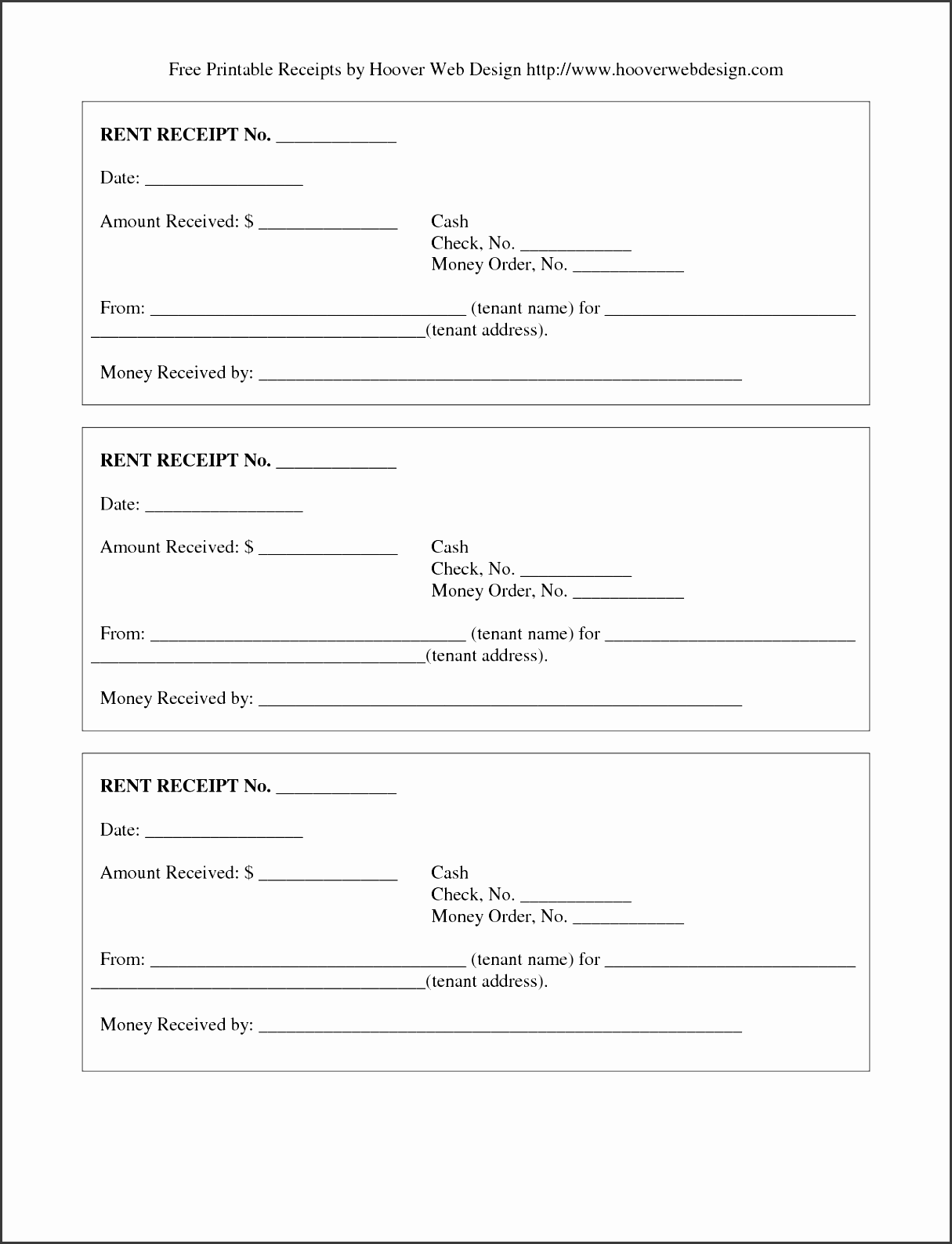 room rental receipt