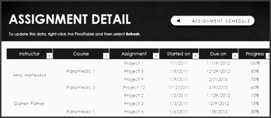 free assignment schedule template for excel 2013