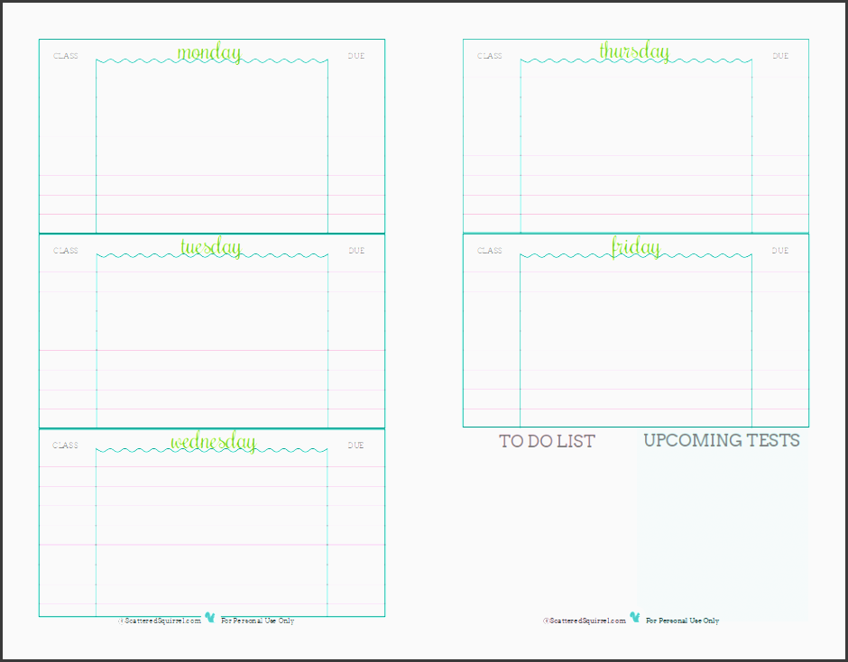 Delicate image within student planner printable