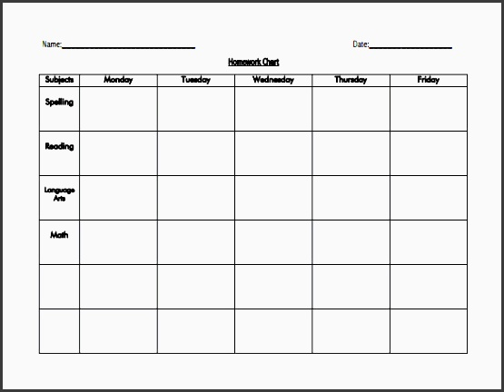 Blank Homework Calendar : Assignment planner template sampletemplatess