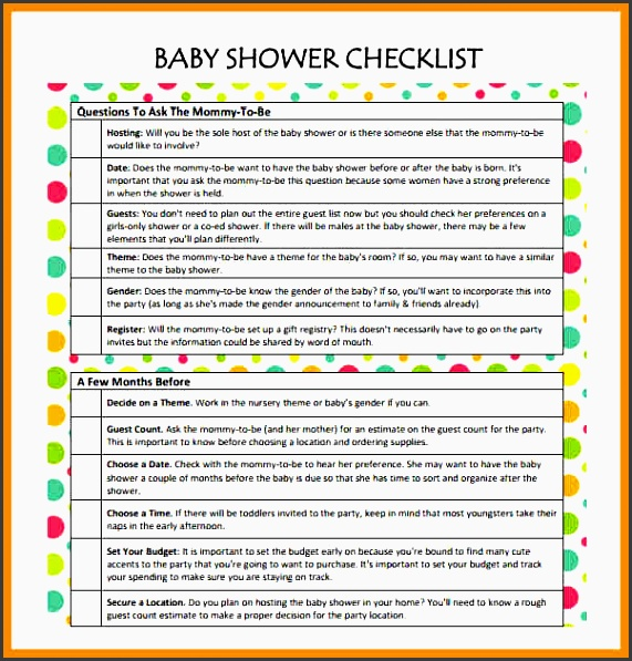 Sample Baby Shower Checklist Template Free Printable Baby Shower