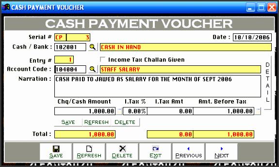 cash payment voucher bank