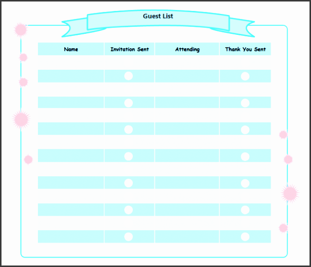 Birthday Party Guest List Free Birthday Party Guest List Templates  Birthday Party Guest List