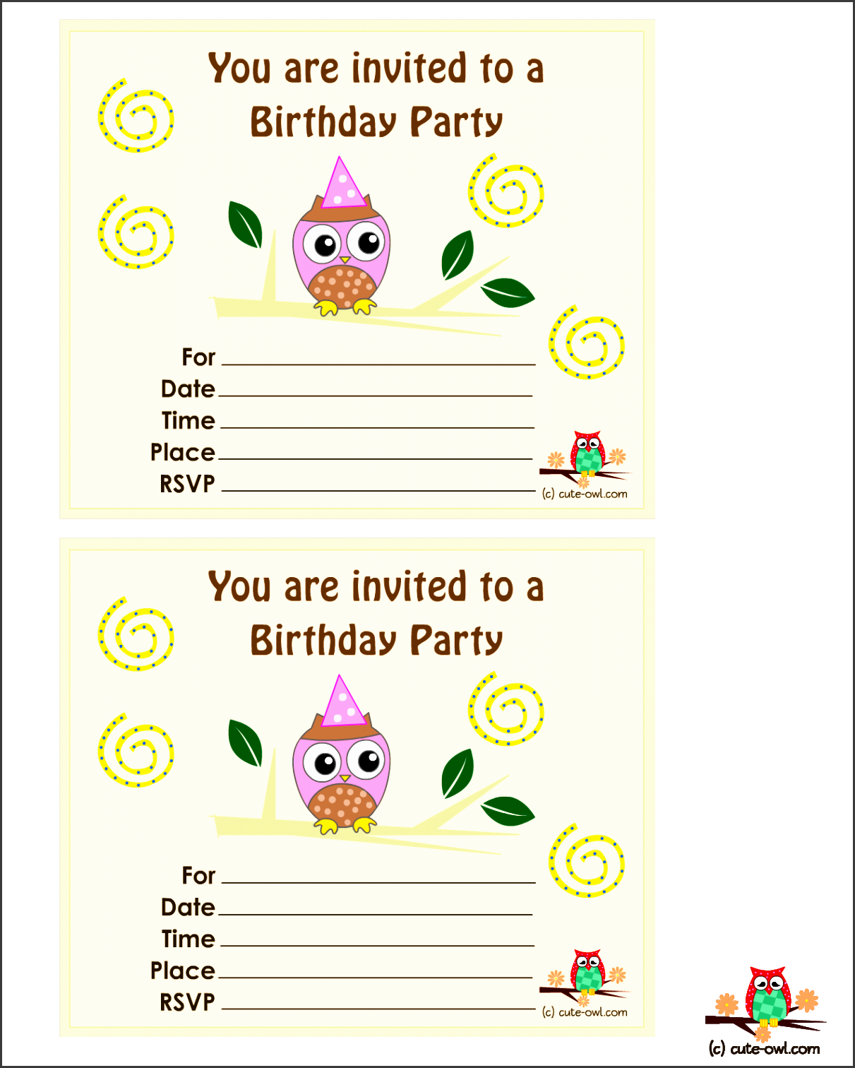 birthday party then these invitations with pink owl