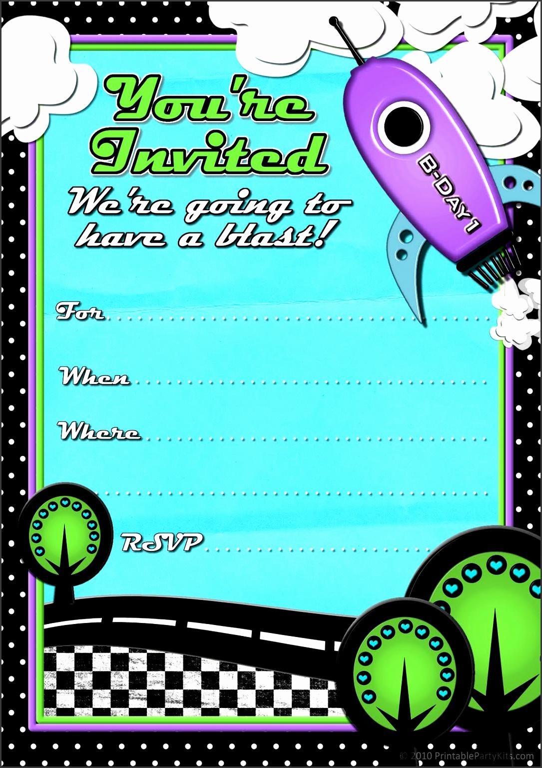 rocketship birthday party invitations