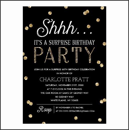 shh surprise birthday party faux glitter confetti card