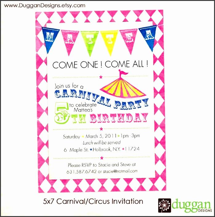 printable circus carnival birthday invitations