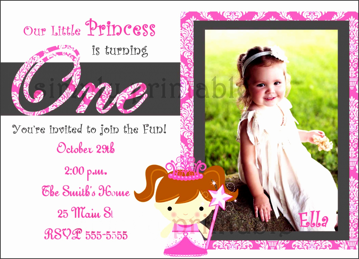 template for little baby girl first birthday invitations