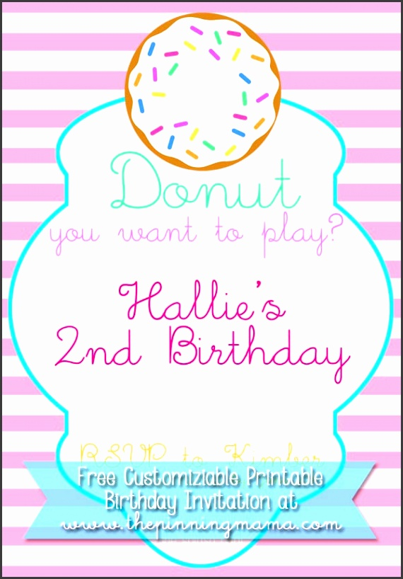 customizable donut birthday party invitation free at