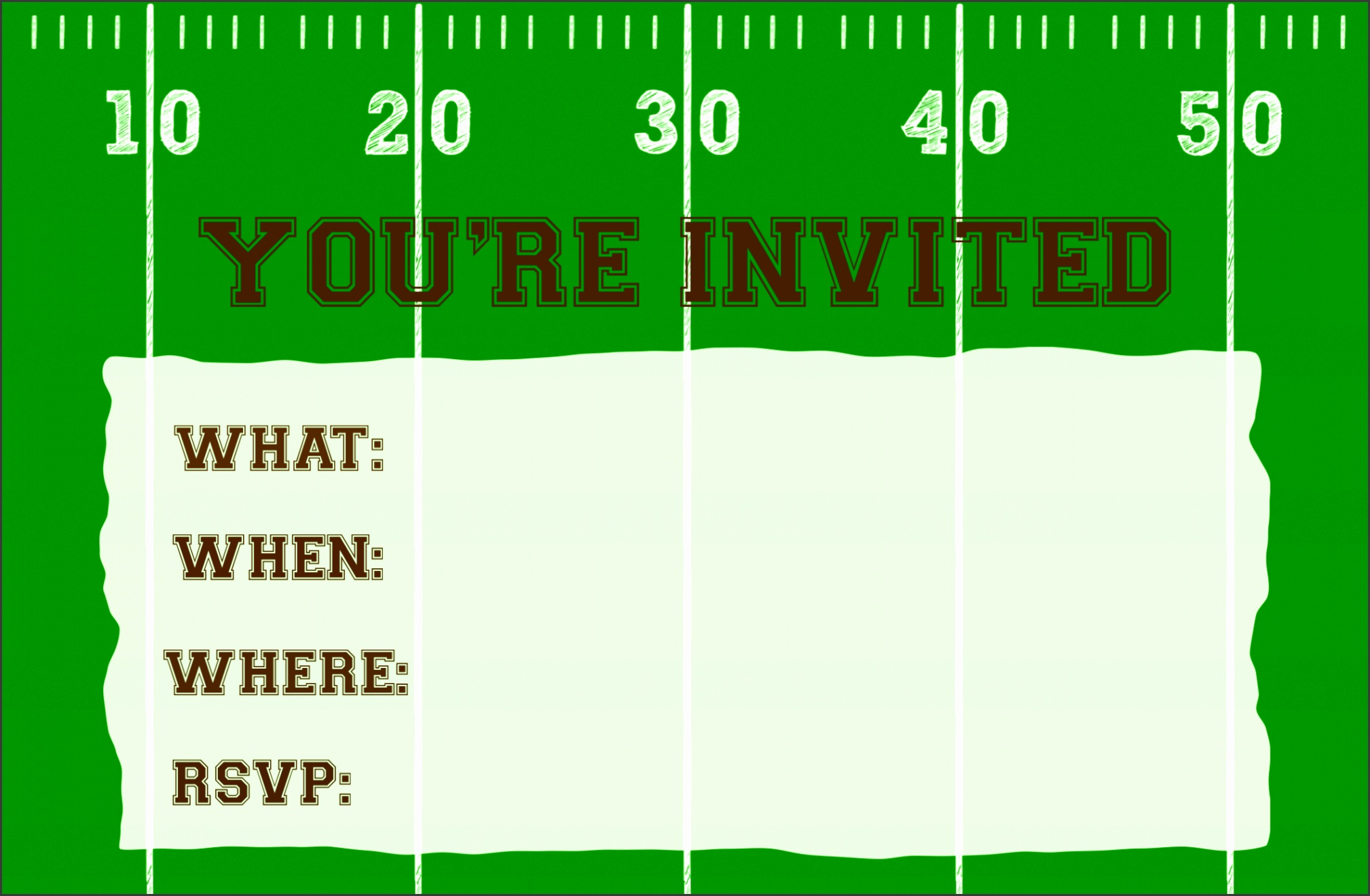 football invitation printable single image