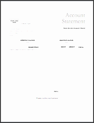 Account Statement Template  Blank Bank Statement Template