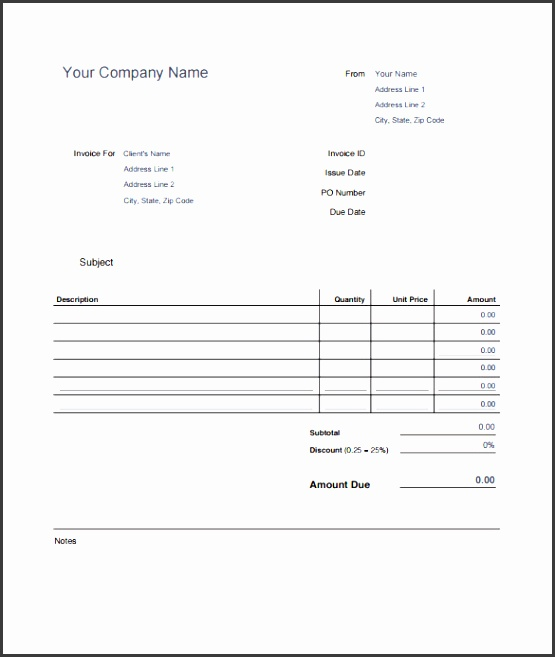 editable blank invoice estimate template in printable pdf format