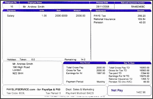 Sample Payslip Template  Payslip In Word Format