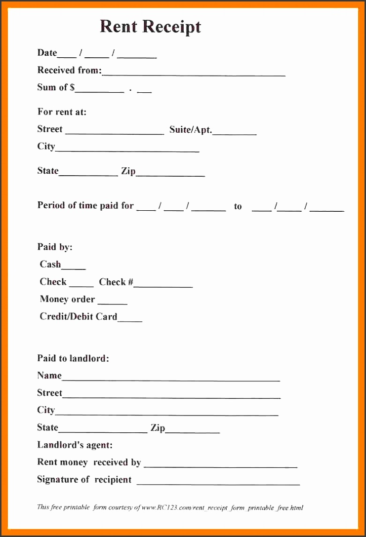 5 blank rent receipt template