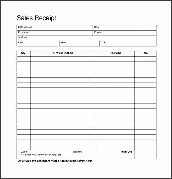 free sales receipt form