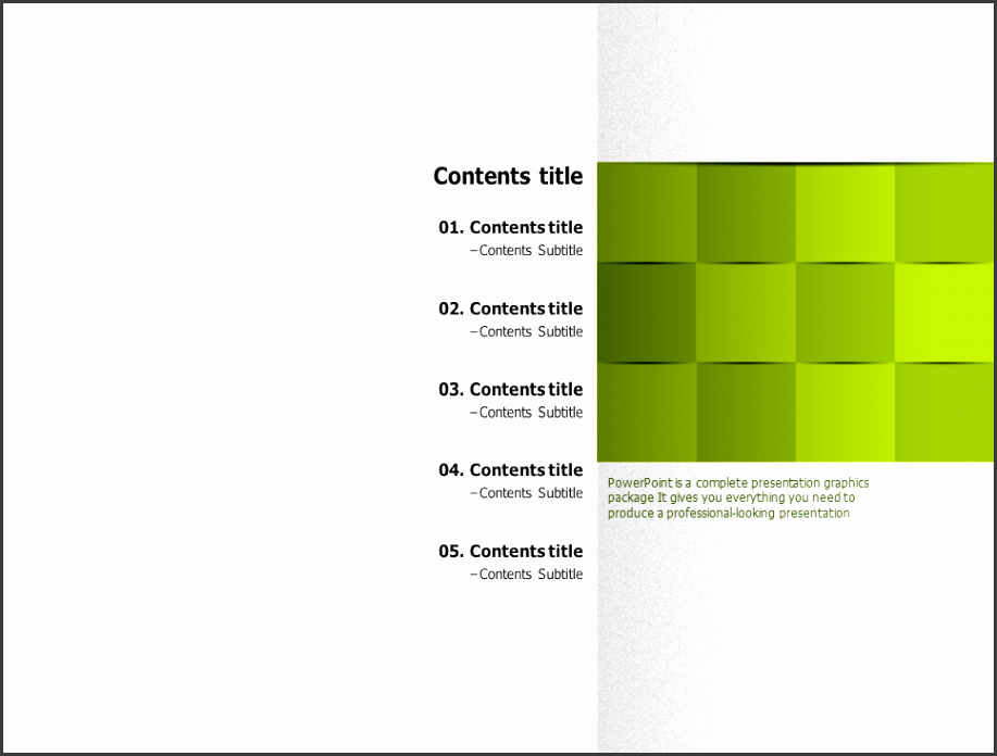 002ok style powerpoint template table of contents