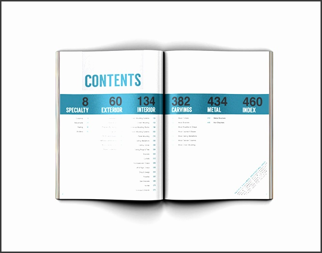 table of contents format