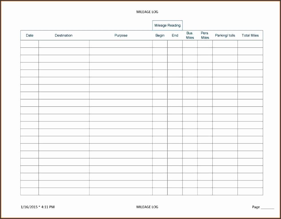 8 bus mileage log template