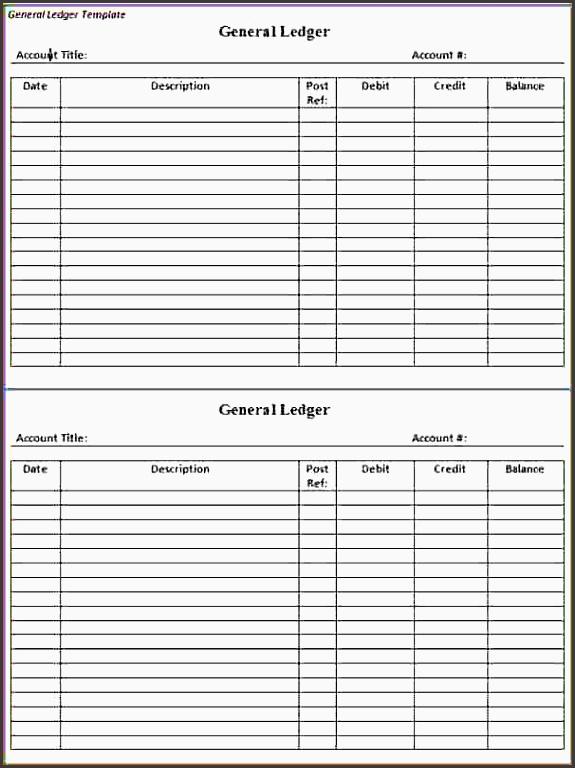Account Ledger Printableneral Ledger Template Business  Account Ledger Printable