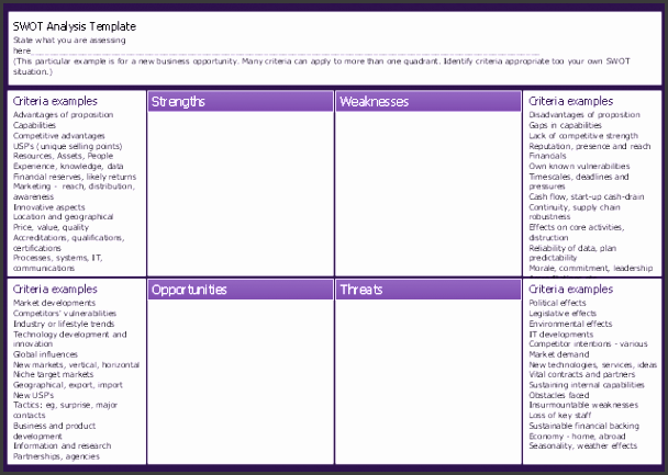 new business opportunity swot analysis matrix template landscape color
