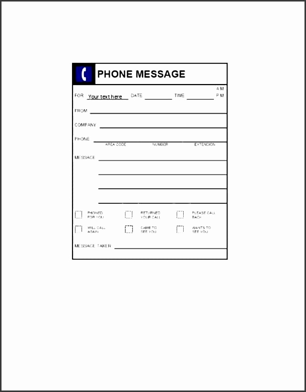 8 business telephone message template