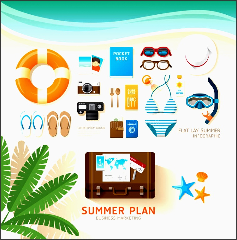 infographic travel planning a summer vacation business flat lay stock vector image